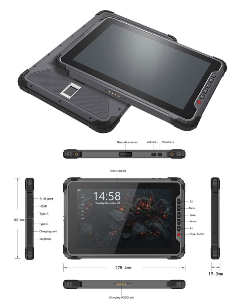 Tablet Android industrial de 10 pulgadas - frontal y puertos